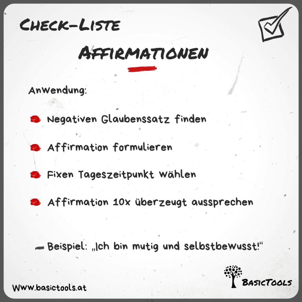 Affirmationen Anwenden Check Liste