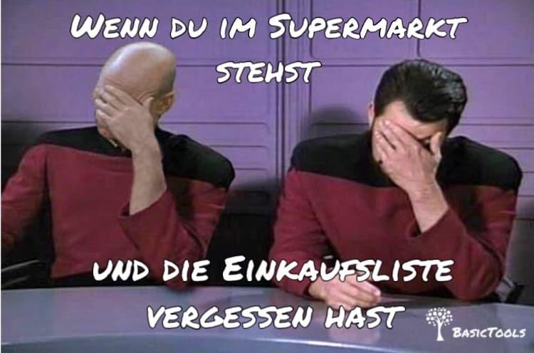 Einkaufsliste merken Meme