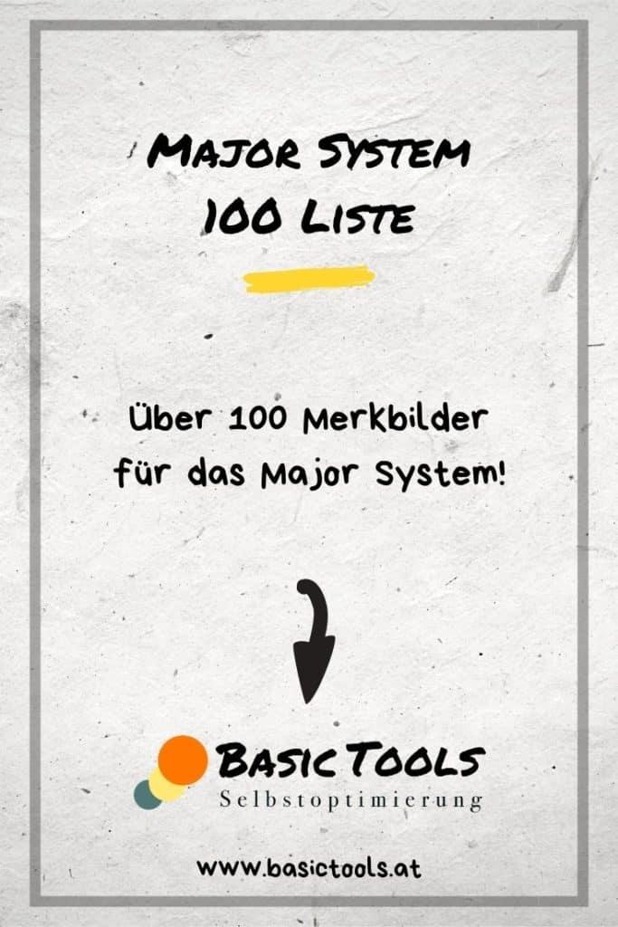 Major System lernen - Liste 100 Merkbilder